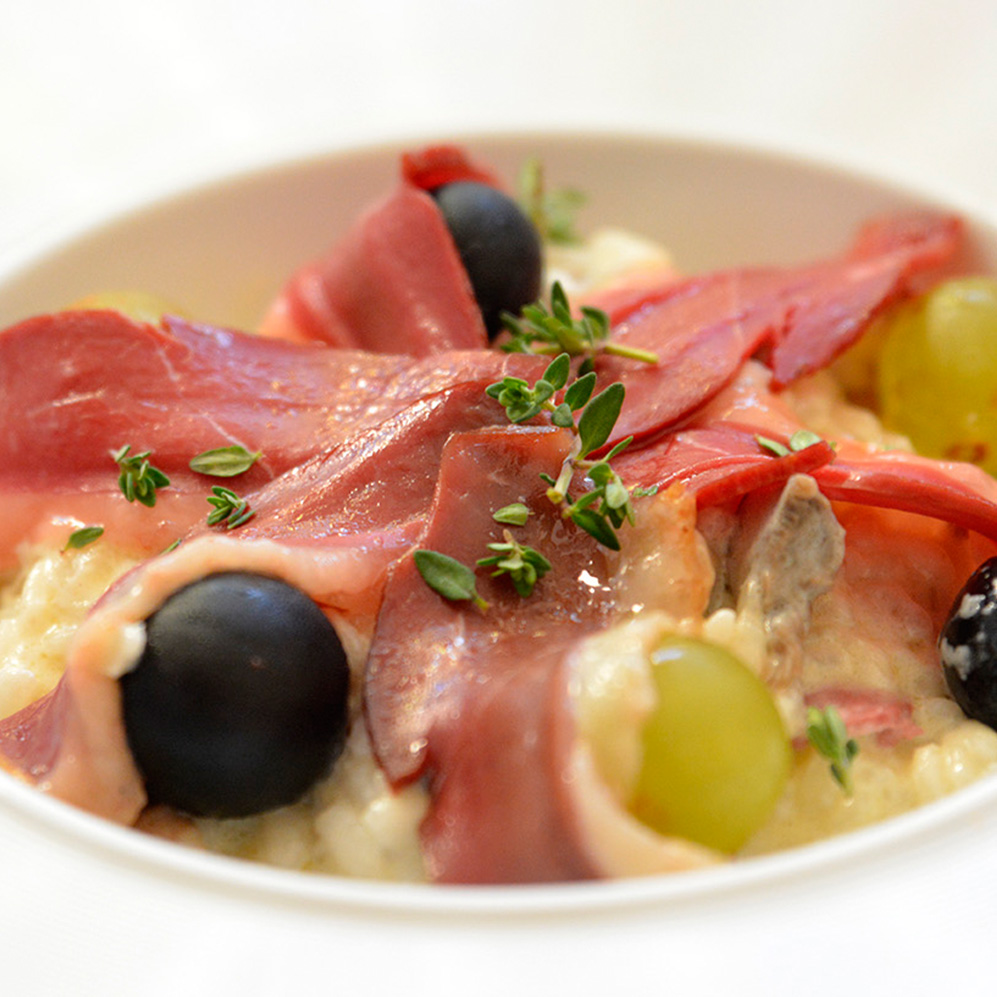 Risotto, magret & raisins